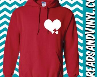Autism Heart Hoodie Hooded Sweatshirt
