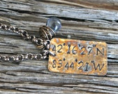 Hand Stamped, Longitude & Latitude Necklace, GPS Coordinates Necklace, Special Places Necklace
