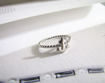Silver Anchor - Slim Silver Ring - Sterling Silver Ring - Anchor Ring - Rope Ring - US Size 7 - Everyday Jewelry