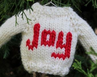 Knitting PATTERN / Christmas Ornament Mini Sweater / Knit / Joy / PDF instant download / Quick Knit