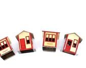 vintage miniature tin houses erector set buildings train set stations antique collectibles christmas village kids toys metal home props