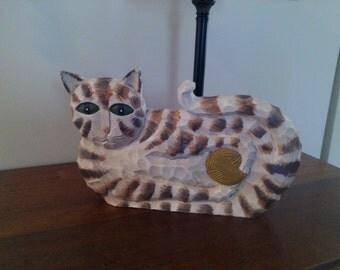 Vintage Hand Carved Wooden Folk Art Cat Sculpture