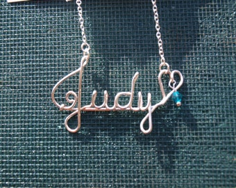 Personalized name necklace, Silver-filled wire name necklace, Birthstone necklace, Bridesmaid gift,  Sterling Silver Chain,