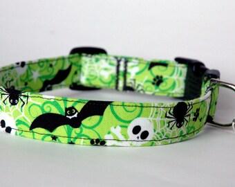 "Handmade Bright Green Halloween Dog Collar ""New"""