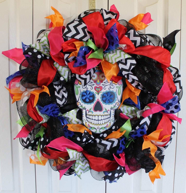 Large Day of The Dead deco mesh wreath. Dia de los Muertos