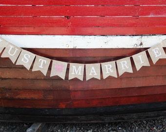 Just married wedding bunting burlap banner for photo prop or decoration