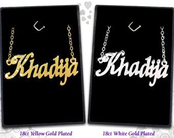Name Necklace Khadija  - 18K Gold Plated, Czech Rhinestones