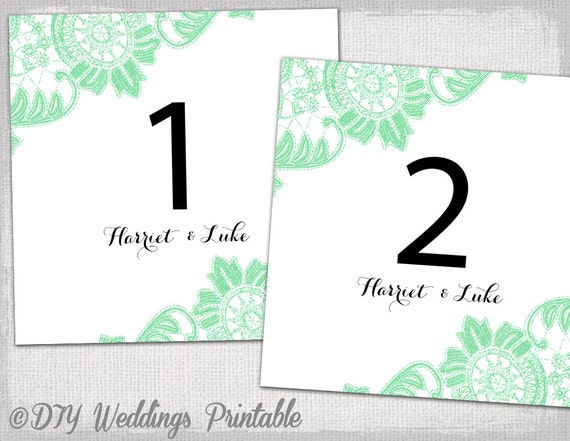 Table number template DIY Mint green Antique