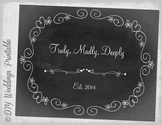 Chalkboard wedding sign template diy black white for Chalkboard signs template