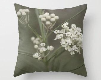 White Flower Pillow, Wildflower Photo, Neutral Pillow Cover, Midwest Photo, Photo Pillow Cover, Throw Pillow, Indoor Pillow, Outdoor Pillow