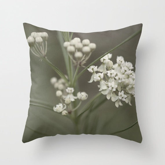 White Flower Pillow, Wildflower Photo, Neutral Pillow Cover, Midwest Photo, Photo Pillow Cover, Throw Pillow, Indoor Pillow, Outdoor Pillow