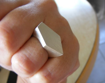 Geometric Faceted Statement Ring , Sterling Silver Handmade Ring