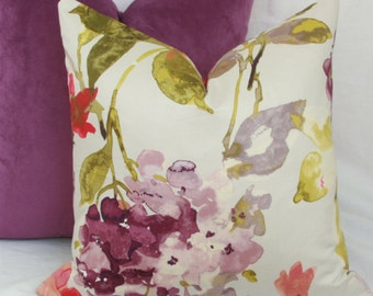 """Pink, purple, green floral decorative throw pillow covers. HGTV decorative pillow cover. 18"""" x 18""""."""