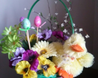 Easter Basket Flower Centerpiece, Easter Floral, Gerbera Daisies, Pansies, Furry Yellow Duck, Spring Floral, Spring Flower Basket, Easter