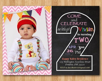 Second Birthday Invitation Chalkboard. 2nd Birthday Invite with Photo. Chevron Baby Boy or Girl. Blue, any color. Printable Digital DIY