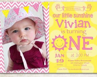 Sunshine Birthday Invitation. You Are My Little Sunshine Bday with custom photo. 1st First Girl Birthday Party Invite. Printable digital DIY
