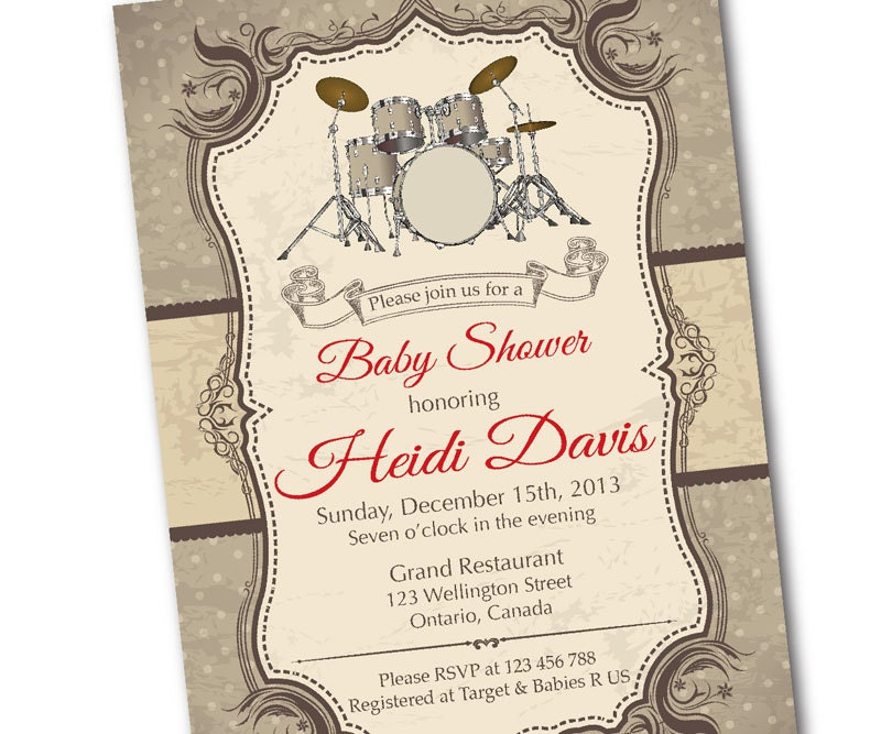 drum baby shower invitation rock star music baby shower