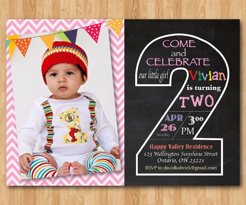 Second Birthday Invitation Chalkboard. 2nd Birthday Invite