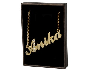 Name Necklace Anika - Gold Plated 18ct Personalised Necklace with Swarovski Elements