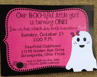PRINTED or DIGITAL Halloween Ghost Spider Birthday Invitations 5x7 Customized Ghost Invites Design 0.82 each