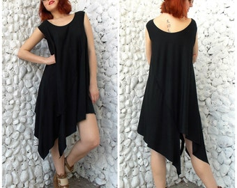 Black Asymmetrical Dress Tunic / Plus Size Loose Tunic / Black Dress Tunic / Oversize Dress Tunic TDK45