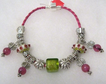 286 - CLEARANCE - Magenta and Lime MOM Bracelet