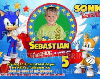 Sonic the Hedgehog Custom Photo Birthday Party Invitations