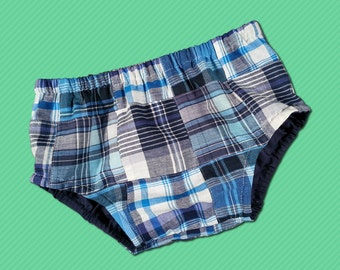 Baby boy's Blue Madras Plaid, Diaper Cover - M7