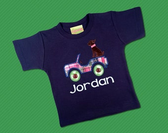 Boy's Jeep Shirt with Dog and Embroidered Name