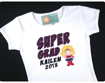 Girl's Super Grad Shirt with Embroidered Name and Year