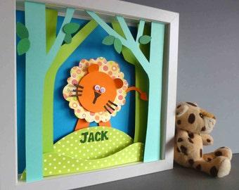 Personalised Baby Kids Children's picture - Lion Jungle 3D Framed Handmade Paper Artwork