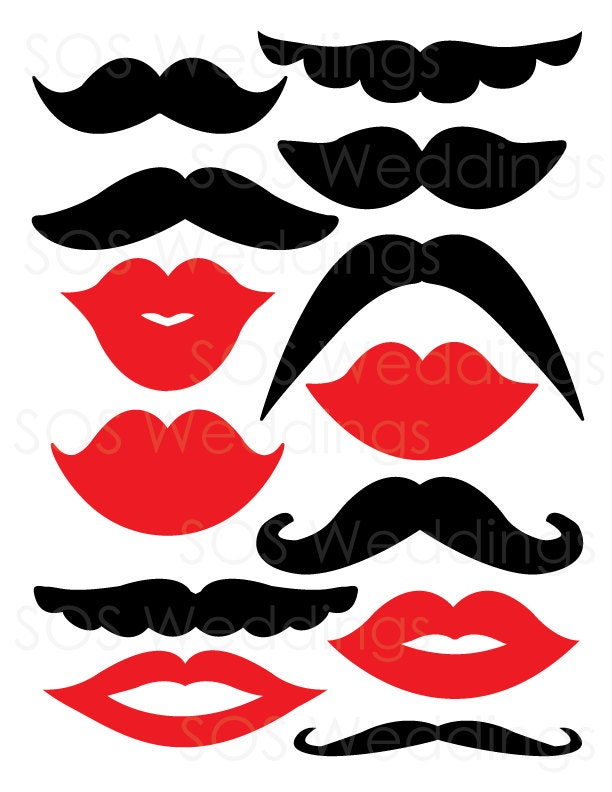 Mustaches and lips photobooth props wedding photo booth for Photo booth props template free download