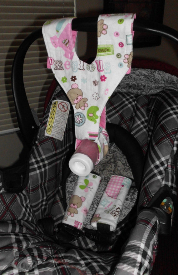 car seat set pink girls bottle sling strap covers. Black Bedroom Furniture Sets. Home Design Ideas