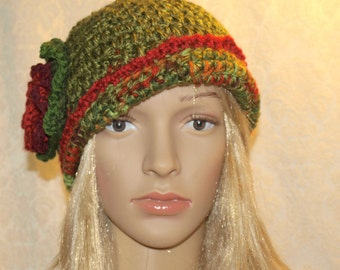 Cloche styled crochet hat with flower #1306