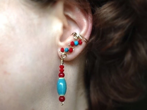 Turquoise and Red Drop EarCuffs Image