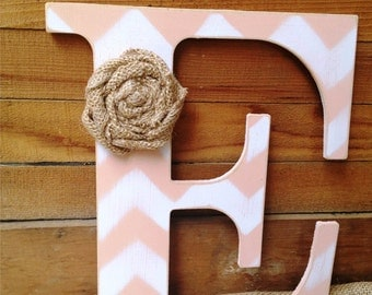 9 inch Custom Chevron Letter for Home Decor,Nursery Letter,Photo Prop,Rustic Letter,Wedding Gift,Bridesmaid Gift,Gifts Under 20,Farmhouse