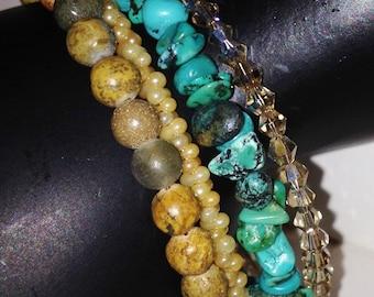 Turquoise & Jasper Wrap Bracelet