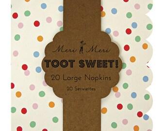 "Toot Sweet Large Spotty Napkin by Meri Meri, 13 x 13"" Paper Napkins Party Polka Dots Lunch Napkin Dinner Napkins"