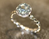 Floral Aquamarine Engagement Ring in 14k White Gold Diamond Pebble Ring 8x8mm Round Natural Aquamarine Ring (Bridal Set Available)