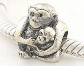 100% Authentic 925 Sterling Silver Threaded Monkey Mother And Child Charm Fit European Style Jewelry Bracelets & Necklaces  (SKU: FJ096)
