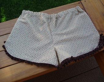 Pom Pom shorts/ Brown  Pom Pom shorts/ vintage pattern Pom Pom shorts/ Fun shorts/ Night shorts/ Camping shorts
