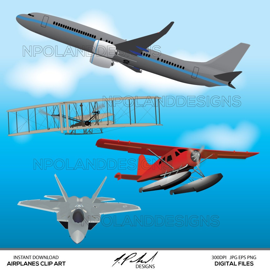 Airplanes Instant Download Digital Clip Art Airplane Clipart