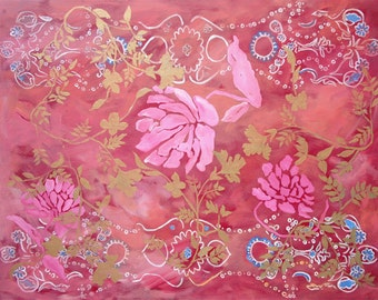 Peonies .. acrylic on  canvas painting