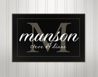 Family Name Sign, Simple Black Monogram, Personalized Sign, Personalized Wedding Sign, Custom Last Name Sign,