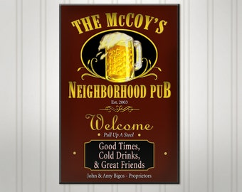 Personalized Neighborhood Bar Sign, Green or Burgundy Man Cave Pub Sign, Custom Beer Sign, Man Cave Bar Decor