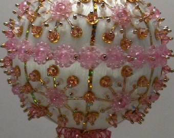 Pink Posey  - Floral Theme - A Finished Hand Made Beaded Satin Ornament With Crystals