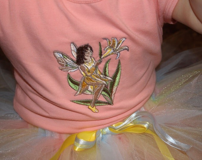 Peach fairy shirt and pastel tutu set, size 24 months. Little girl Colthes, Baby Girl Outfit, tutu outfit.