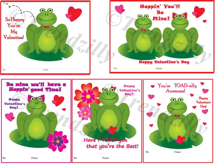 Frog Valentines day card Kids Valentines Toad Valentine – Printable Valentines Card for Kids