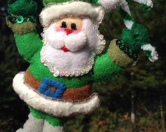 Green Santa Christmas Ornament