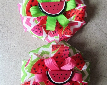 WATERMELON HAIR BOW - 4 inch stacked ribbon style with hand painted resin center